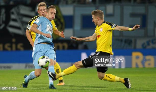 Dennis Grote of Chemnitz challenges Dominik Ernst of Koeln during the 3Liga match between Chemnitzer FC and SC Fortuna Koeln at Community4you Arena...