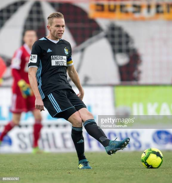 Dennis Grote of Chemnitz plays the ball during the 3 Liga match between FSV Zwickau and Chemnitzer FC at Stadion Zwickau on December 16 2017 in...
