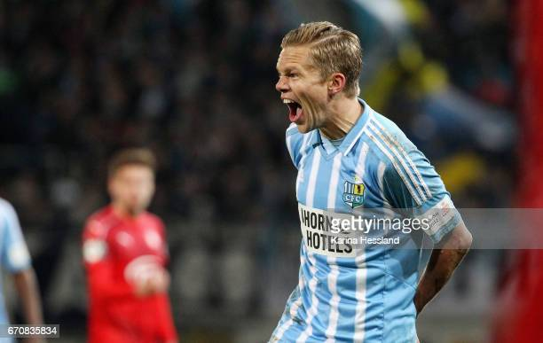 Dennis Grote of Chemnitz reacts during the Semifinals at Wernesgruener Sachsen Pokal between Chemnitzer FC and FSV Zwickau on April 19 2017 at...