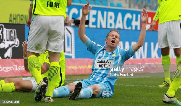 Dennis Grote of Chemnitz reacts during the Third League Match between Chemnitzer FC and SV Wehen Wiesbaden on April 15 2017 at community4you ARENA in...