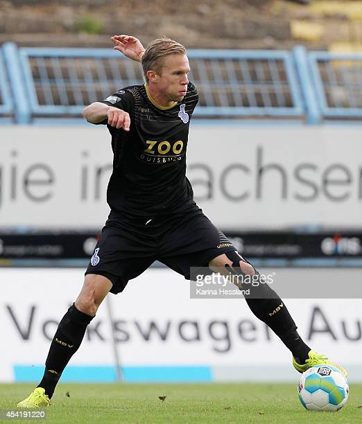 Dennis Grote of Duisburg during the Third league match between Chemnitzer FC and MSV Duisburg at Stadion an der Gellertstrasse on August 24 2014 in...