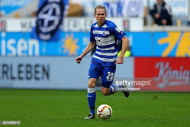 Dennis Grote of Duisburg runs with the ball during the Second Bundesliga match between MSV Duisburg and VfL Bochum at SchauinslandReisenArena on...