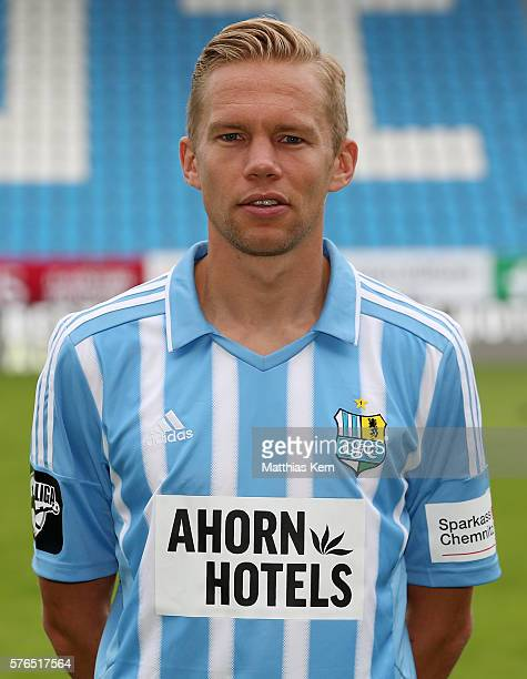 Dennis Grote poses during the Chemnitzer FC team presentation on July 15 2016 in Chemnitz Germany