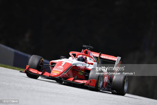 Dennis Hauger of Norway and Prema Racing drives during Day Two of Formula 3 Testing at Red Bull Ring on April 04, 2021 in Spielberg, Austria.