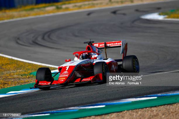 Dennis Hauger of Norway and Prema Racing drives during day two of Formula 3 Testing at Circuito de Jerez on May 13, 2021 in Jerez de la Frontera,...