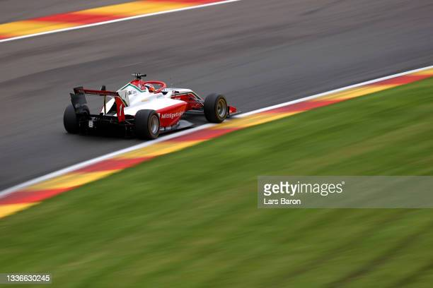 Dennis Hauger of Norway and Prema Racing drives during practice ahead of Round 5:Spa-Francorchamps of the Formula 3 Championship at Circuit de...