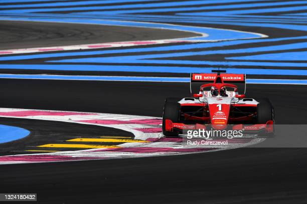 Dennis Hauger of Norway and Prema Racing drives on track during practice ahead of Round 2:Le Castellet of the Formula 3 Championship at Circuit Paul...