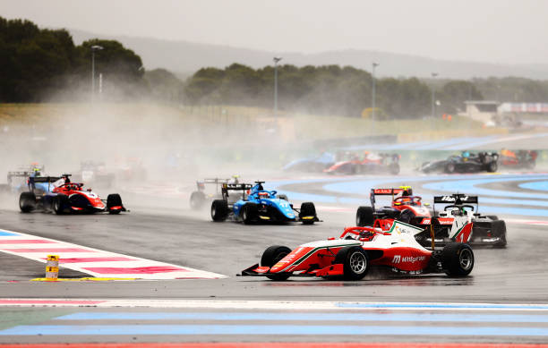 Dennis Hauger of Norway and Prema Racing leads Frederik Vesti of Denmark and ART Grand Prix and the rest of the field at the start of the race during...
