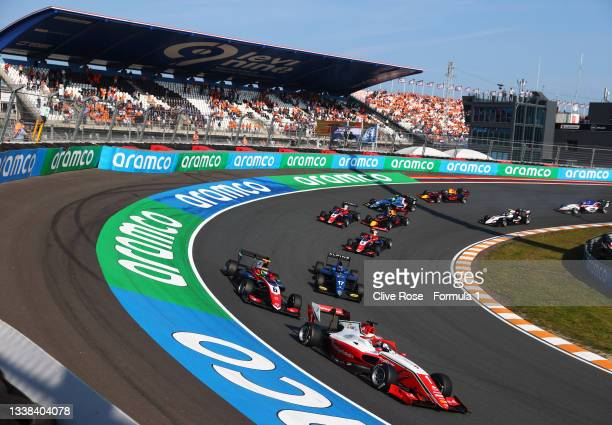 Dennis Hauger of Norway and Prema Racing leads the field at the start during race 3 of Round 6:Zandvoort of the Formula 3 Championship at Circuit...