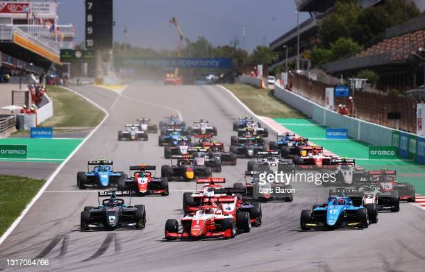 Dennis Hauger of Norway and Prema Racing leads the field into turn one at the start during race 3 of Round 1:Barcelona of the Formula 3 Championship...