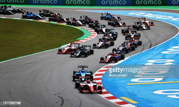 Dennis Hauger of Norway and Prema Racing leads the field into turn two at the start during race 3 of Round 1:Barcelona of the Formula 3 Championship...