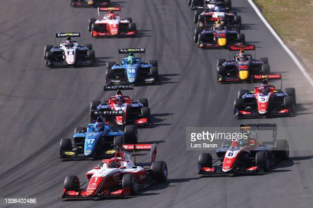 Dennis Hauger of Norway and Prema Racing leads the field into turn one at the start during race 3 of Round 6:Zandvoort of the Formula 3 Championship...