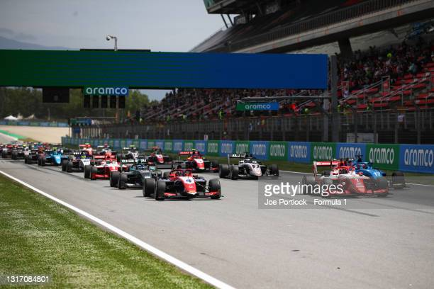 Dennis Hauger of Norway and Prema Racing leads the field off the line at the start during race 3 of Round 1:Barcelona of the Formula 3 Championship...