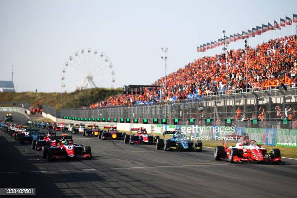 Dennis Hauger of Norway and Prema Racing leads the field off the line at the start during race 3 of Round 6:Zandvoort of the Formula 3 Championship...