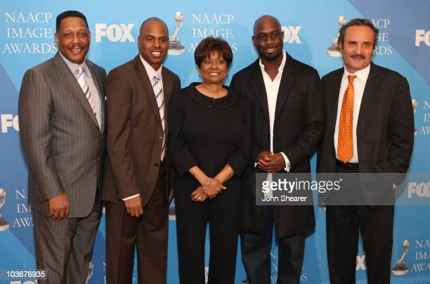 Dennis Hayes Kevin Frazier Clayola Brown Richard T Jones and Vicangelo Bulluck attend the nominee announcement for the 39th NAACP Image Awards at the...