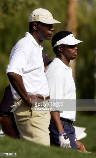 Dennis Haysbert and Ken Griffey Jr during 44th Bob Hope Chrysler Classic Round Four at Arnold Palmer Private Course at PGA West in La Quinta...