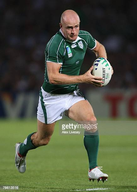 Dennis Hickie of Ireland in action during Match Eight of the Rugby World Cup 2007 between Ireland and Namibia at the Stade ChabanDelmas on September...