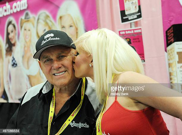 Dennis Hof owner of the Moonlite Bunny Ranch and Taylor Lee attend Exxotica Day 1 at New Jersey Convention and Exposition Center on November 13 2015...