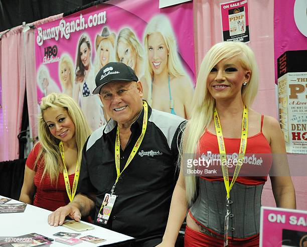 """Dennis Hof owner of the """"Moonlite Bunny Ranch"""" and Taylor Lee attend Exxotica Day 1 at New Jersey Convention and Exposition Center on November 13,..."""