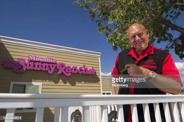 Dennis Hof owner of the Moonlite Bunny Ranch stands for a photograph outside the Moonlite Bunny Ranch in Mound House Carson City Nevada US on Tuesday...