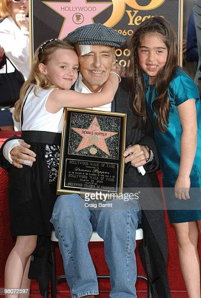 Dennis Hopper and daughter Galen Hopper at Dennis Hopper's Star ceremony on Hollywood Walk Of Fame on March 26 2010 in Los Angeles California