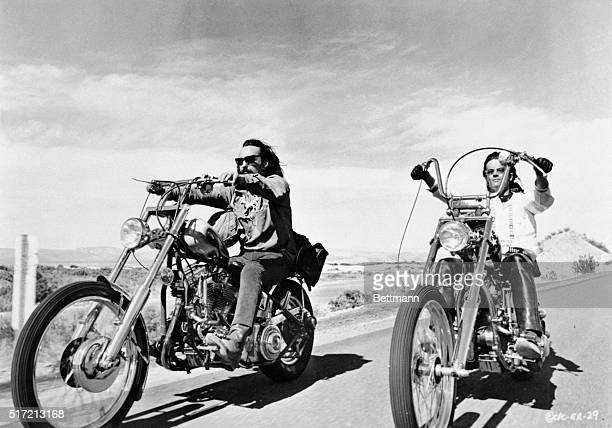 Dennis Hopper and Peter Fonda riding bikes in a scene from the movie Easy Rider June 30 1969