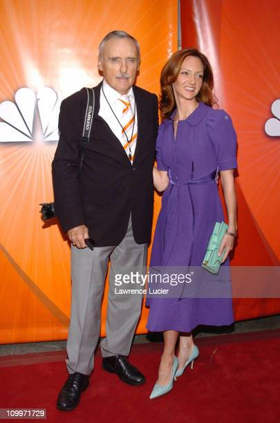 Dennis Hopper and Victoria Duffy during 2005/2006 NBC UpFront Red Carpet at Radio City Music Hall in New York NY United States