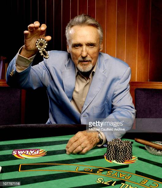 Dennis Hopper during CineVegas 2004 Portrait Studio Day 6 at The Palms Hotel in Las Vegas Nevada United States