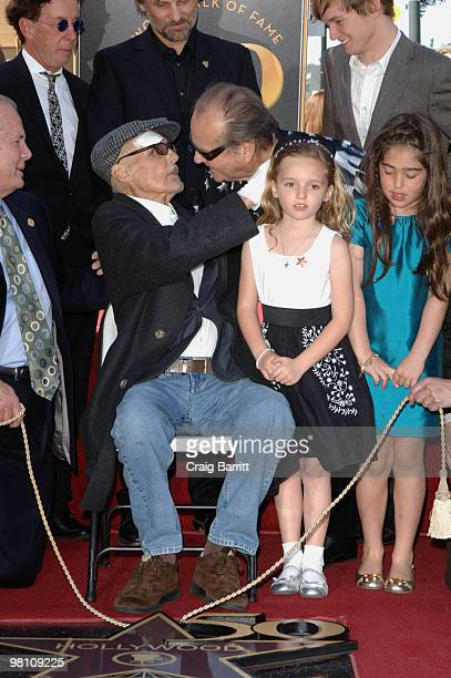 Dennis Hopper Jack Nicholson Galen Hopper and Henry Lee Hopper at Dennis Hopper's star ceremony on the Hollywood Walk Of Fame on March 26 2010 in Los...