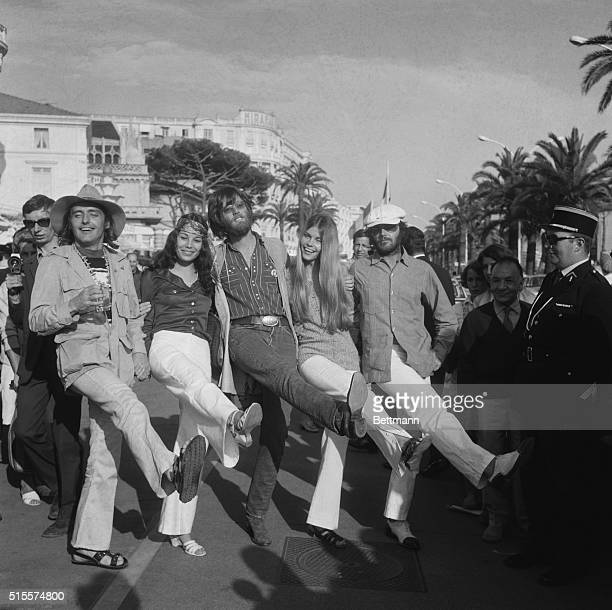 Dennis Hopper Peter Fonda Jack Nicholson and some friends kick up their heels in Cannes during the 1969 International Film Festival Their film 'Easy...