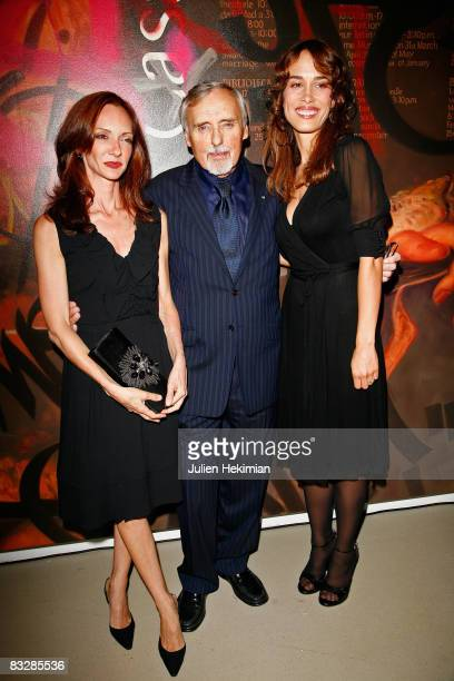 Dennis Hopper poses with his wife Victoria Hopper and Dolores Chaplin at the Dennis Hopper et le Nouvel Hollywood diner at la Cinematheque Francaise...