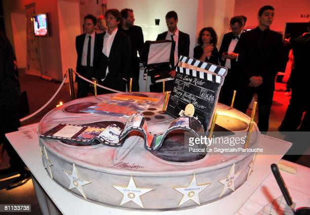 Dennis Hopper's birthday cake is displayed at Dennis Hopper's 72nd Birthday party celebration at the VIP of the Palm Beach Casino party during the...