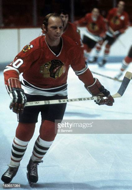 Dennis Hull of the Chicago Blackhawks skates on the ice during warmups before an NHL game against the Montreal Canadiens circa 1975 at the Montreal...