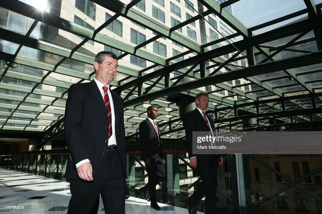Dennis Irwin, Andy Cole and Bryan Robson arrive for the official Manchester United official lunch at Westin Hotel on July 18, 2013 in Sydney, Australia.