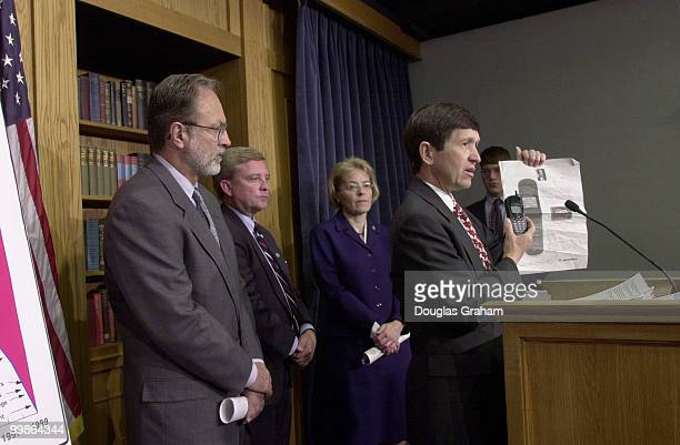 Dennis J Kucinich DOH Marcy Kaptur DOH Robert Ney ROH and Minority Whip David E Bonior DMI during a press conference to speak out against China PNTR