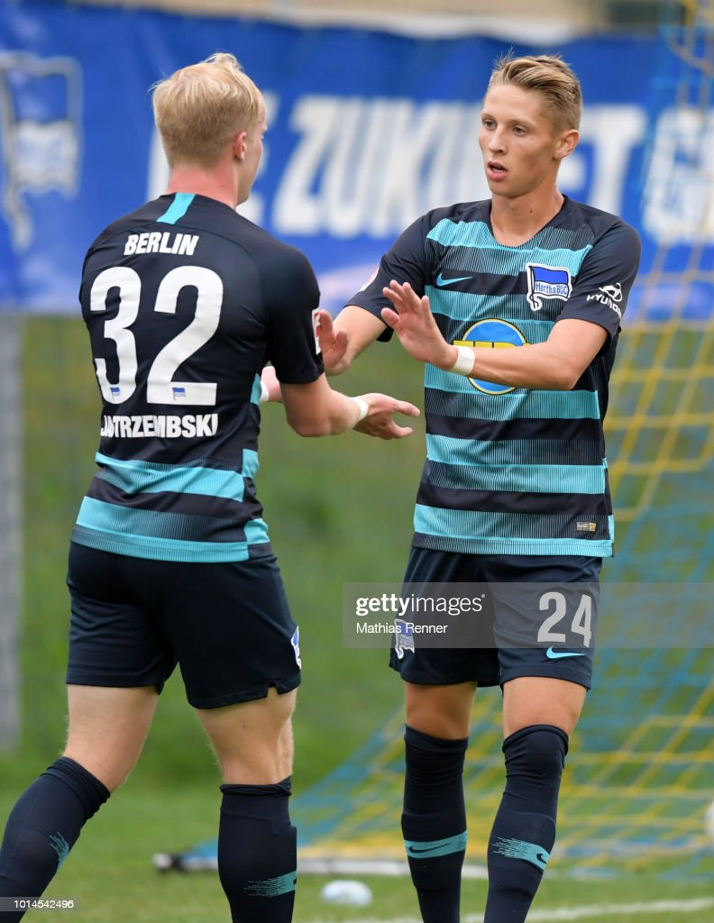 Dennis Jastrzembski and Palko Dardai of Hertha BSC celebrate after scoring the 2:0 during the test test match between Hertha BSC and Aiginiakos FC at the Athletic Area Schladming on august 10, 2018 in Schladming, Austria.