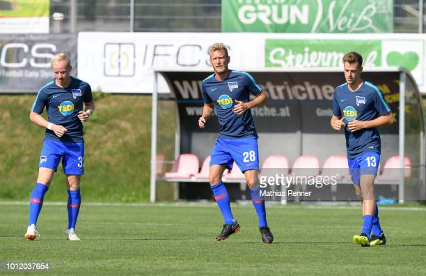 Dennis Jastrzembski Fabian Lustenberger and Lukas Kluenter of Hertha BSC before the game between FC Liefering against Hertha BSC at the Athletic Area...