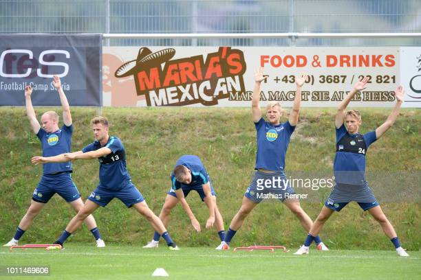 Dennis Jastrzembski Lukas Kluenter Julius Kade Arne Maier and Palko Dardai of Hertha BSC during the training camp on August 5 2018 in Schladming...