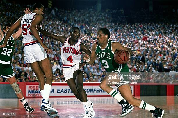 Dennis Johnson of the Boston Celtics drives to the basket against the Detroit Pistons during the NBA game in Detroit Michigan NOTE TO USER User...