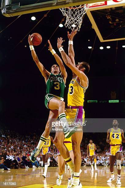 Dennis Johnson of the Boston Celtics drives to the basket for a layup against the Los Angeles Lakers during the NBA game at the Forum in Los Angeles...