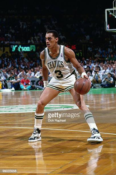 Dennis Johnson of the Boston Celtics looks to make a move against the Los Angeles Lakers during the 1987 NBA Finals at the Boston Garden in Boston...