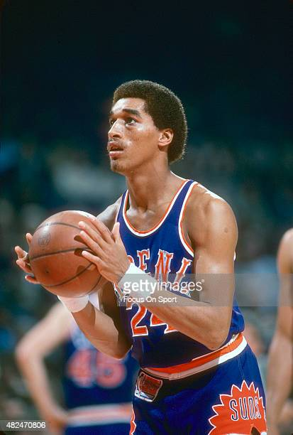 Dennis Johnson of the Phoenix Suns looks to shoot a free throw against the Washington Bullets during an NBA basketball game circa 1980 at the Capital...