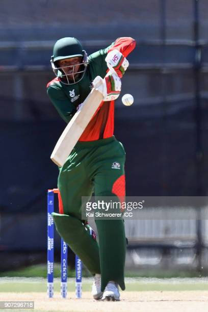 Dennis Kavinya of Kenya bats during the ICC U19 Cricket World Cup match between the West Indies and Kenya at Lincoln Oval on January 20 2018 in...
