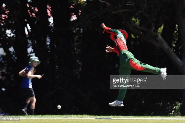 Dennis Kavinya of Kenya misses a catch during the ICC U19 Cricket World Cup match between the West Indies and Kenya at Lincoln Oval on January 20...