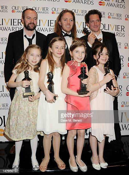Dennis Kelly Tim Minchin Best Actor winner Bertie Carvel Best Actress winners Sophia Kiely Eleanor Worthington Cox Kerry Ingram and Cleo Demetriou of...