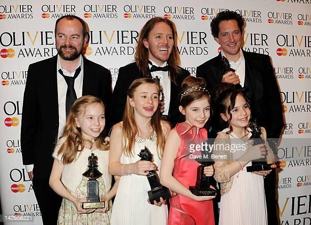 Dennis Kelly Tim Minchin Best Actor winner Bertie Carvel Best Actress winners Sophia Kiely Eleanor Worthington Cox Kerry Ingram and Cleo Demetriou of...