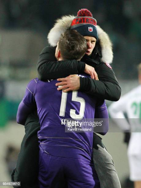 Dennis Kempe and Soeren Bertram of Aue celebrate the victory during the second Bundesliga match between FC Erzgebirge Aue and SpVgg Greuther Fuerth...