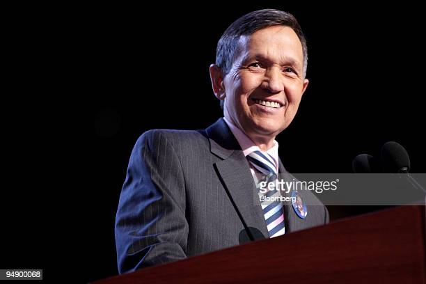 Dennis Kucinich, a Democratic representative from Ohio, speaks during day two of the 2008 Democratic National Convention at the Pepsi Center in...