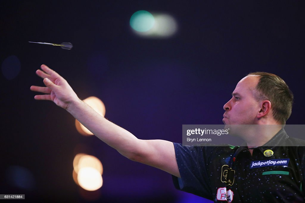 Dennis Labanauskas of Lithuania in action in his first round match on day four of the BDO Lakeside World Professional Darts Championships on January 10, 2017 in Frimley, England.