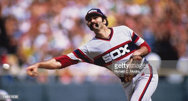 Dennis Lamp of the Chicago White Sox pitching during a MLB game against the Milwaukee Brewers on July 21 1983 in Milwaukee Wisconsin